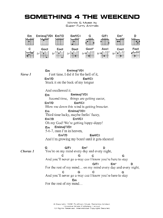 Something 4 The Weekend sheet music for guitar solo (chords, lyrics, melody) by Cian Ciaran