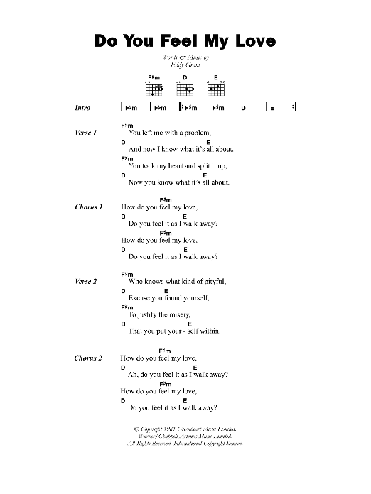 Do You Feel My Love sheet music for guitar solo (chords, lyrics, melody) by Eddy Grant