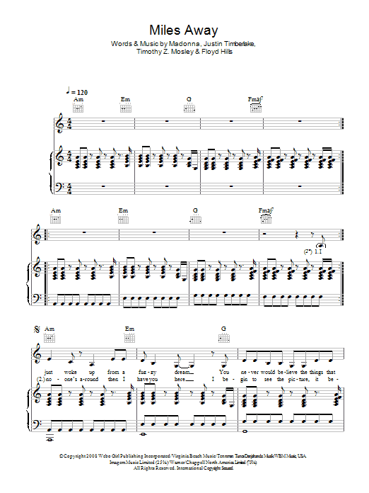 Miles Away sheet music for voice, piano or guitar by Floyd Hills