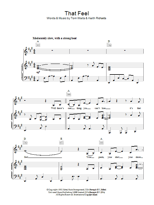 That Feel sheet music for voice, piano or guitar by Keith Richards