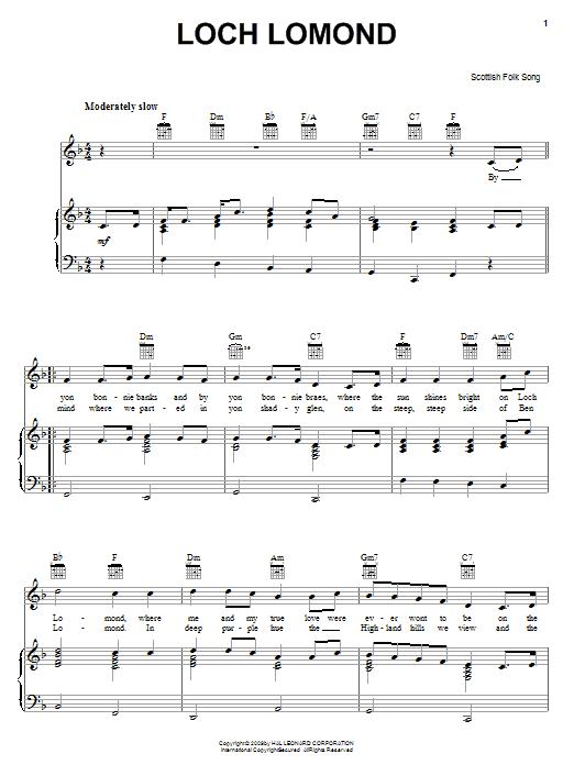 Partition piano Loch Lomond de Scottish Folksong - Piano Voix Guitare (Mélodie Main Droite)
