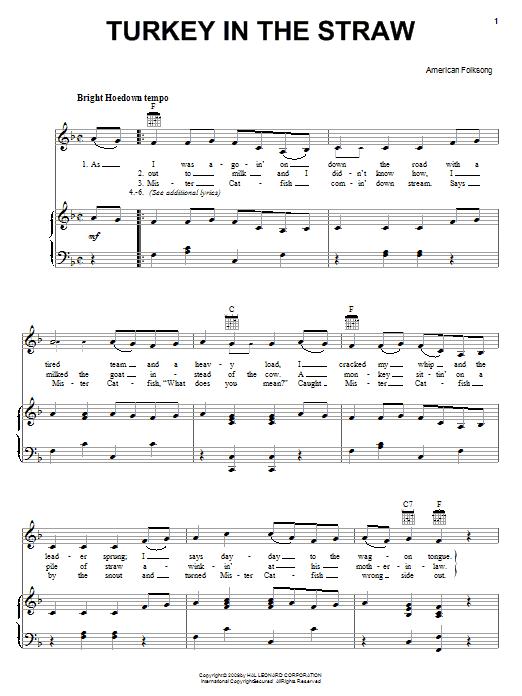 Partition piano Turkey In The Straw de American Folk Song - Piano Voix Guitare (Mélodie Main Droite)