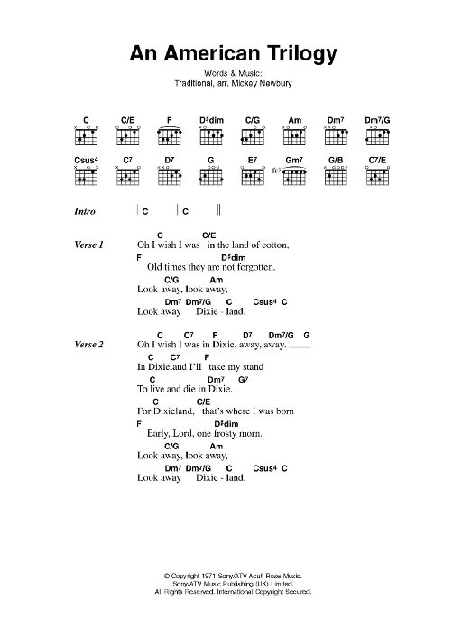An American Trilogy sheet music for guitar solo (chords, lyrics, melody) by Elvis Presley