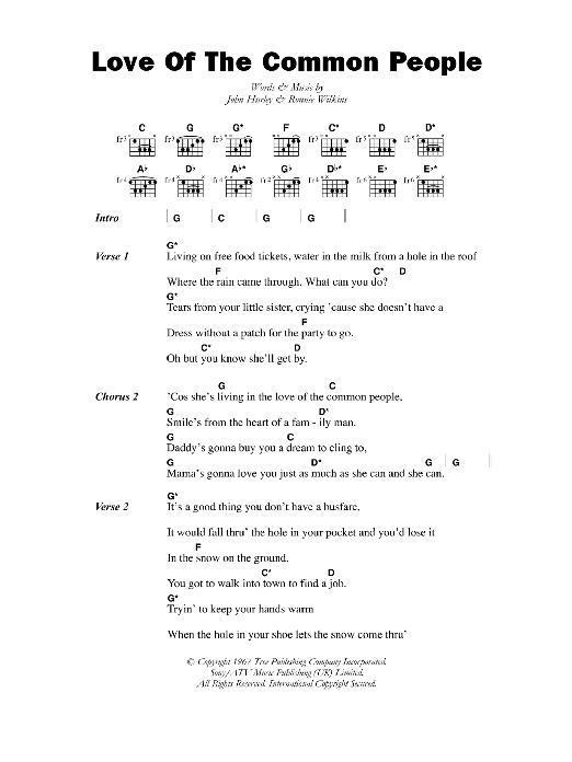 Love Of The Common People sheet music for guitar solo (chords, lyrics, melody) by John Hurley