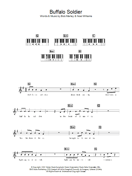 sociology of music buffalo soldier and Download and print buffalo soldier sheet music for guitar solo (chords) by bob marley chords, lead sheet, tablature and lyrics included high quality and interactive, transpose it in any key, change the tempo, easy play & practice.