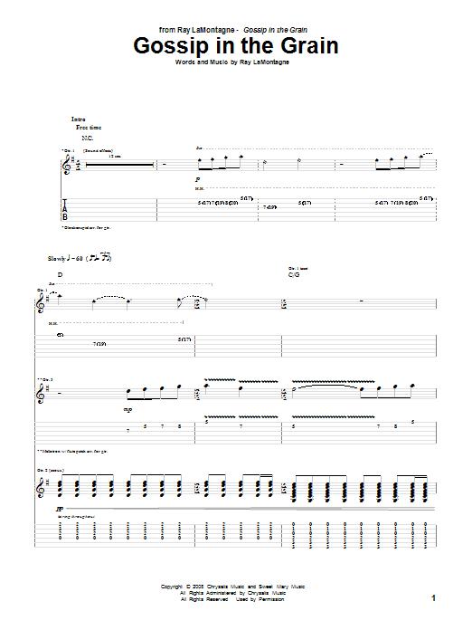 Tablature guitare Gossip In The Grain de Ray LaMontagne - Tablature Guitare