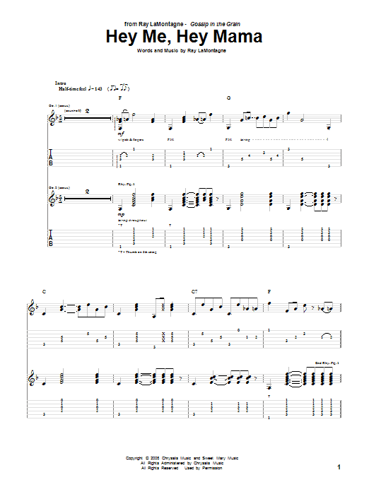 Tablature guitare Hey Me, Hey Mama de Ray LaMontagne - Tablature Guitare