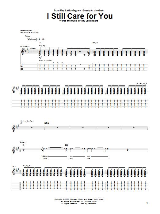 Tablature guitare I Still Care For You de Ray LaMontagne - Tablature Guitare