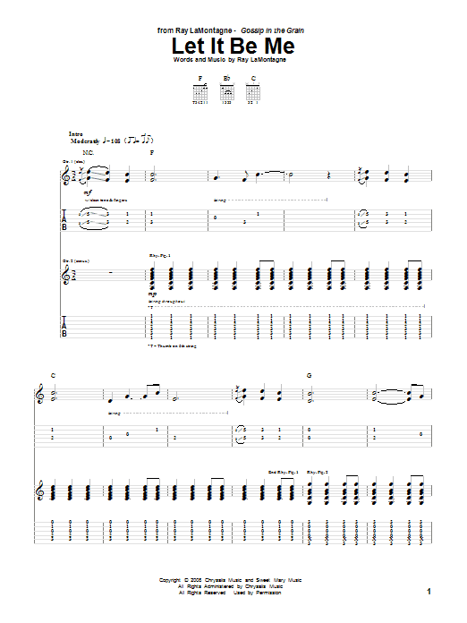 Tablature guitare Let It Be Me de Ray LaMontagne - Tablature Guitare