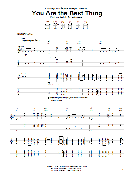 Tablature guitare You Are The Best Thing de Ray LaMontagne - Tablature Guitare