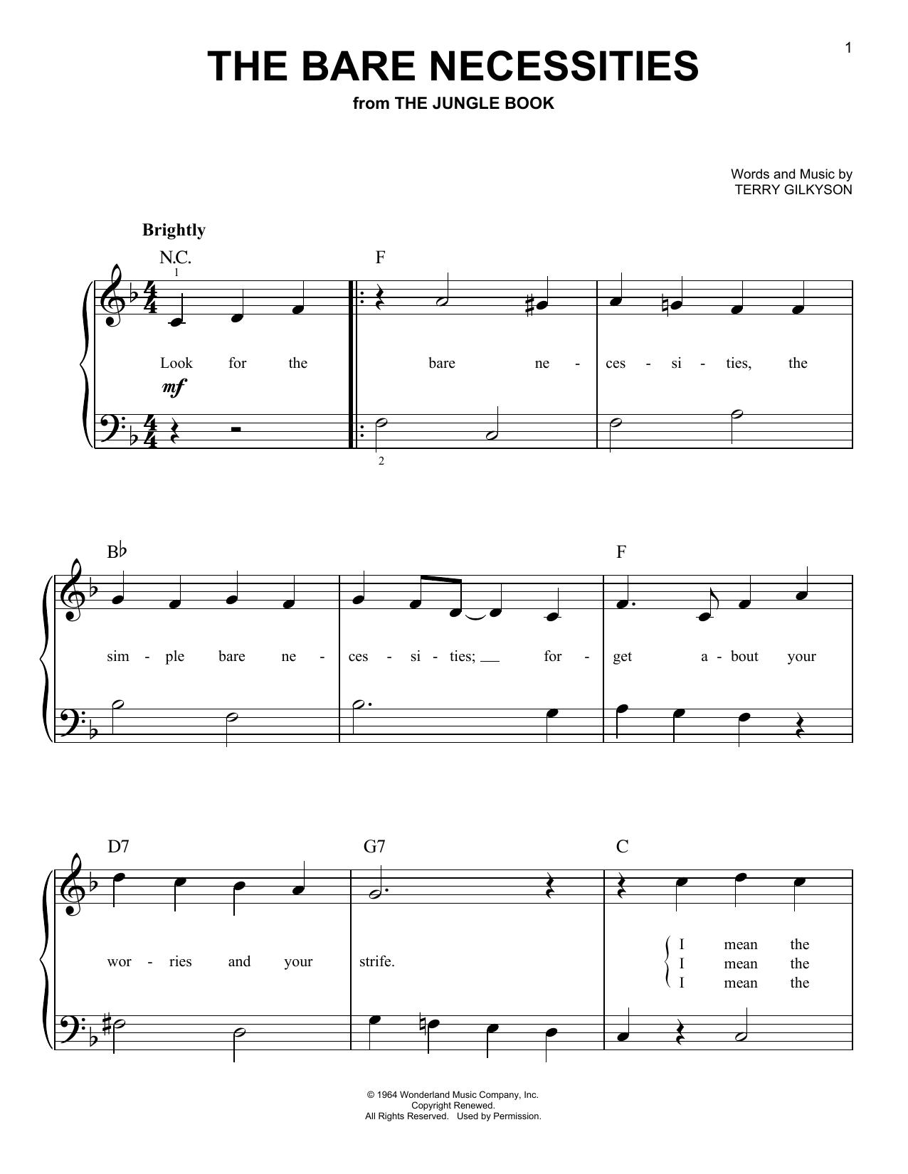 Partition piano The Bare Necessities de Terry Gilkyson - Piano Facile