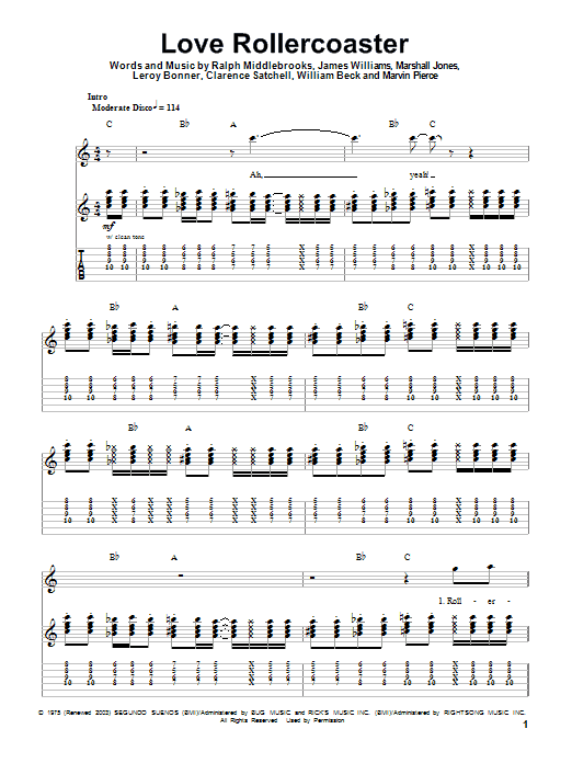 Love Rollercoaster sheet music for guitar solo (tablature, play-along) by Willie Beck
