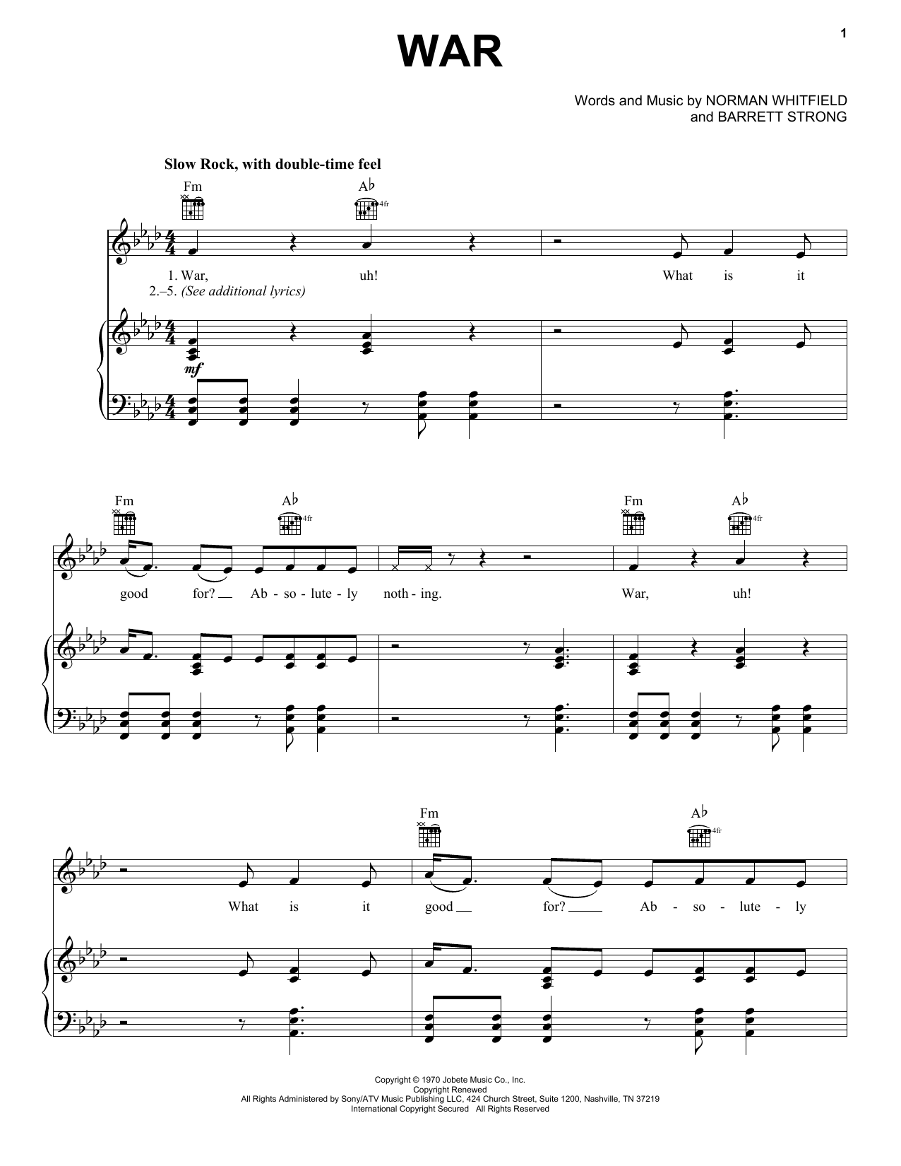 Partition piano War de Edwin Starr - Piano Voix Guitare (Mélodie Main Droite)