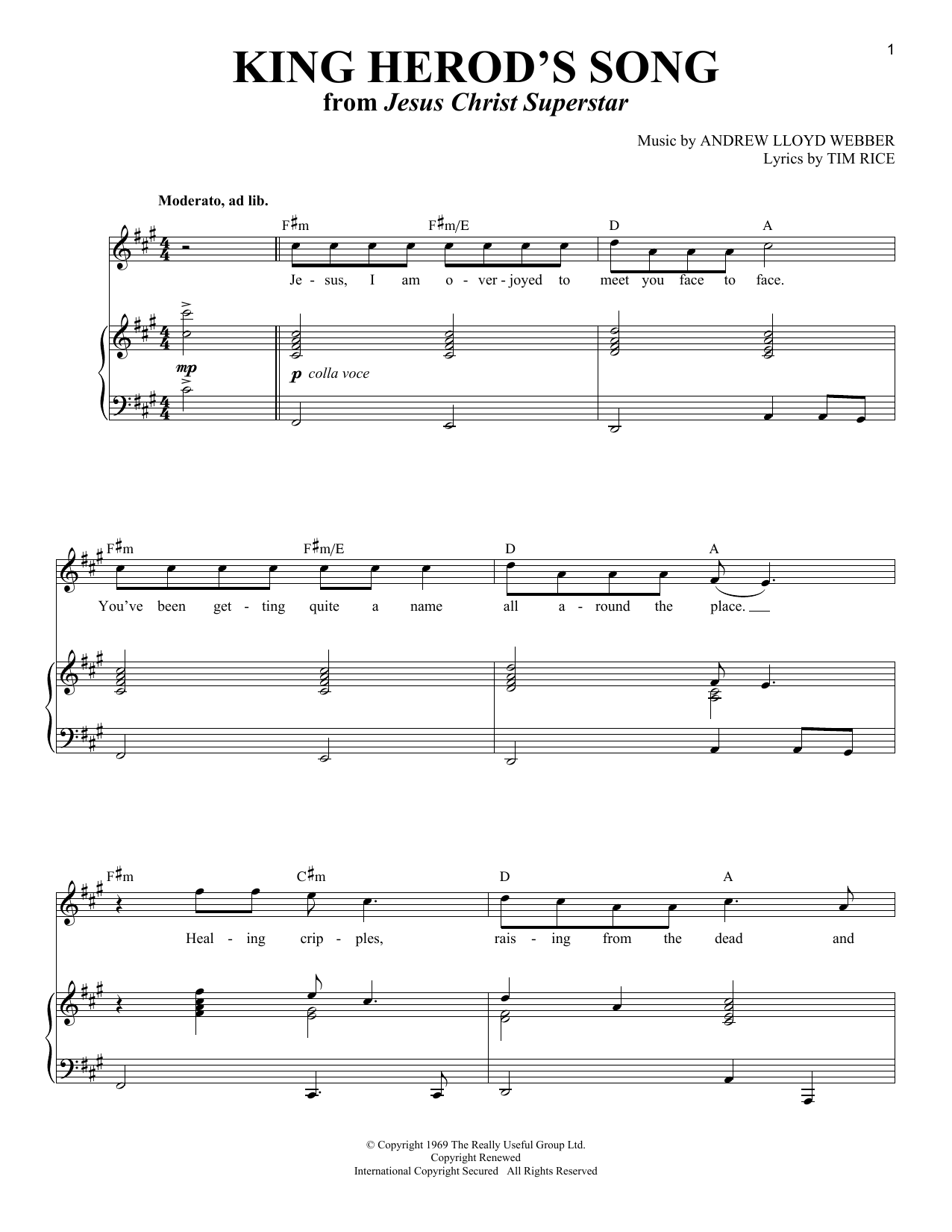 King Herod's Song sheet music for voice and piano by Tim Rice