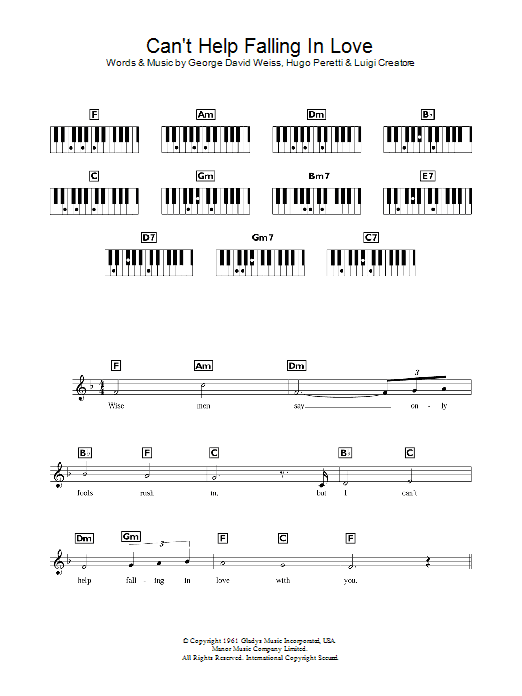 Can't Help Falling In Love sheet music for piano solo (chords, lyrics, melody) by Luigi Creatore