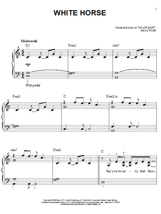 Partition piano White Horse de Taylor Swift - Piano Facile