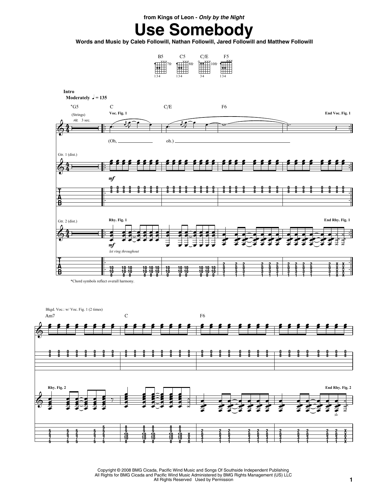 Use Somebody sheet music for guitar solo (tablature) by Nathan Followill