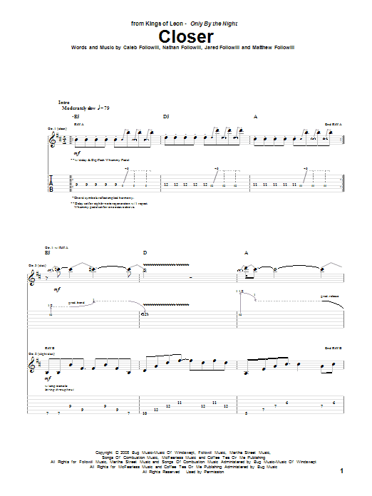 Closer sheet music for guitar solo (tablature) by Nathan Followill