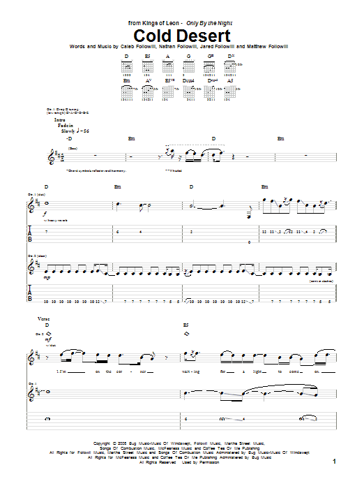 Cold Desert sheet music for guitar solo (tablature) by Nathan Followill