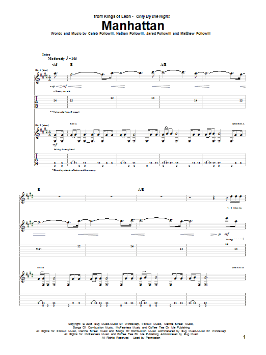 Tablature guitare Manhattan de Kings Of Leon - Tablature Guitare