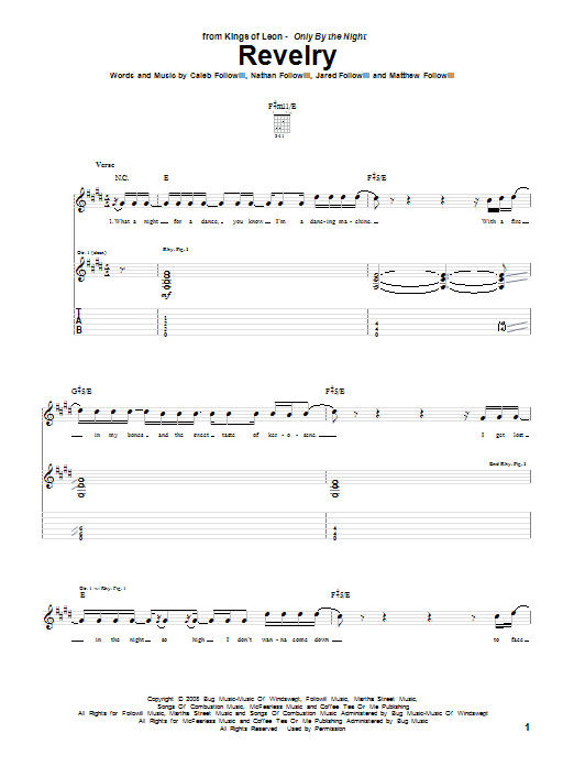 Tablature guitare Revelry de Kings Of Leon - Tablature Guitare