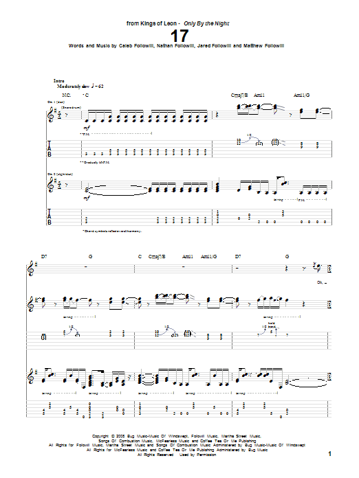 Tablature guitare 17 de Kings Of Leon - Tablature Guitare
