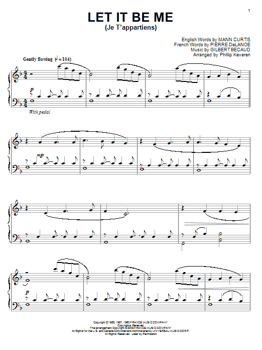 Let It Be Me (Je T'appartiens) sheet music for piano solo by Pierre Delanoe