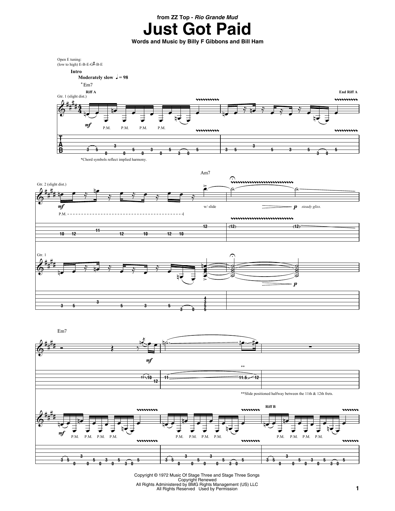 Tablature guitare Just Got Paid de ZZ Top - Tablature Guitare