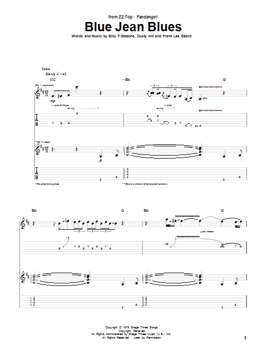 Blue Jean Blues sheet music for guitar solo (tablature) by Frank Beard