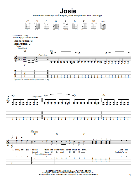 Josie sheet music for guitar solo (easy tablature) by Tom DeLonge