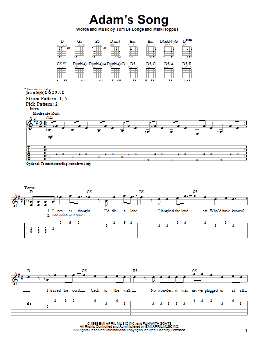 Tablature guitare Adam's Song de Blink-182 - Tablature guitare facile