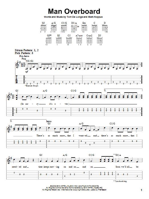 Tablature guitare Man Overboard de Blink-182 - Tablature guitare facile