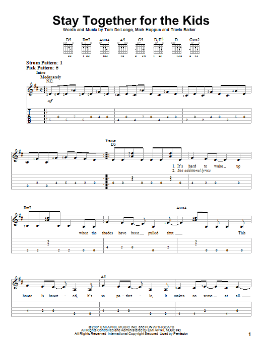 Stay Together For The Kids sheet music for guitar solo (easy tablature) by Travis Barker