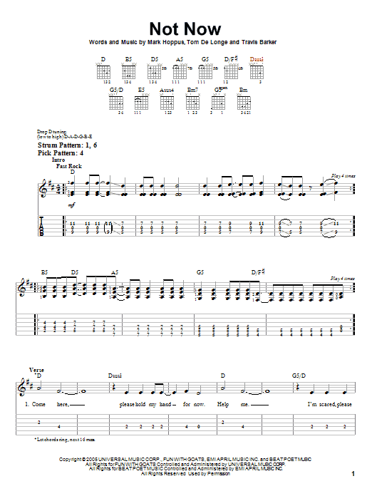 Not Now sheet music for guitar solo (easy tablature) by Travis Barker