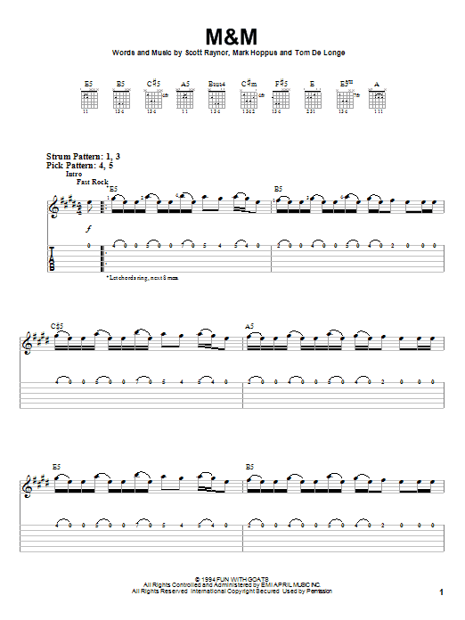 M&M sheet music for guitar solo (easy tablature) by Tom DeLonge