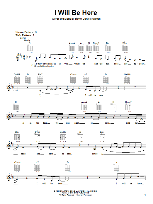 I Will Be Here sheet music for guitar solo (chords) by Steven Curtis Chapman