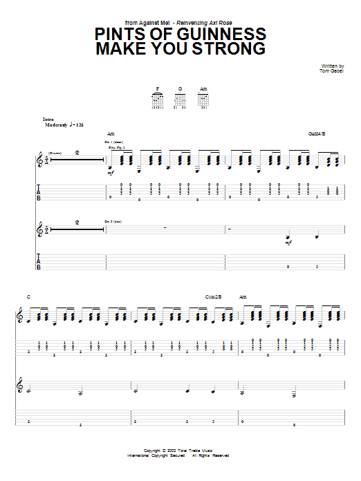 Tablature guitare Pints Of Guinness Makes You Strong de Against Me! - Tablature Guitare