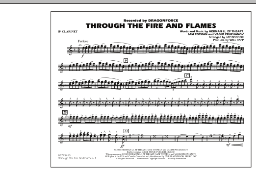 through the fire and flames piano sheet music