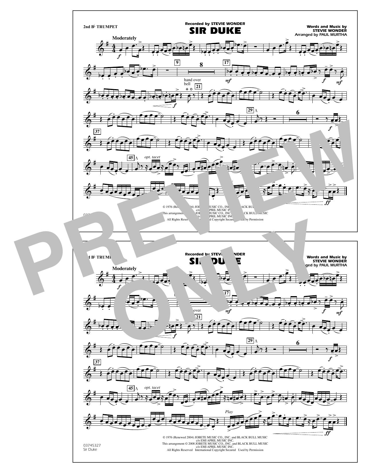 Sheet music digital files to print licensed stevie wonder sir duke 2nd bb trumpet hexwebz Choice Image