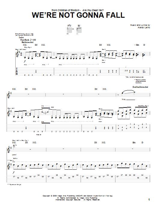 Tablature guitare We're Not Gonna Fall de Children Of Bodom - Tablature Guitare