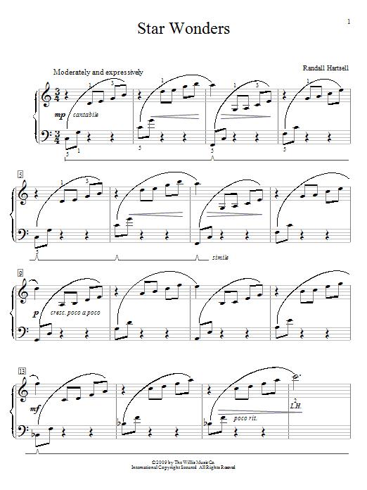 Partition piano Star Wonders de Randall Hartsell - Piano Facile