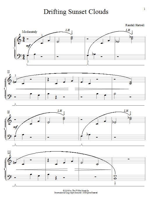 Partition piano Drifting Sunset Clouds de Randall Hartsell - Piano Facile