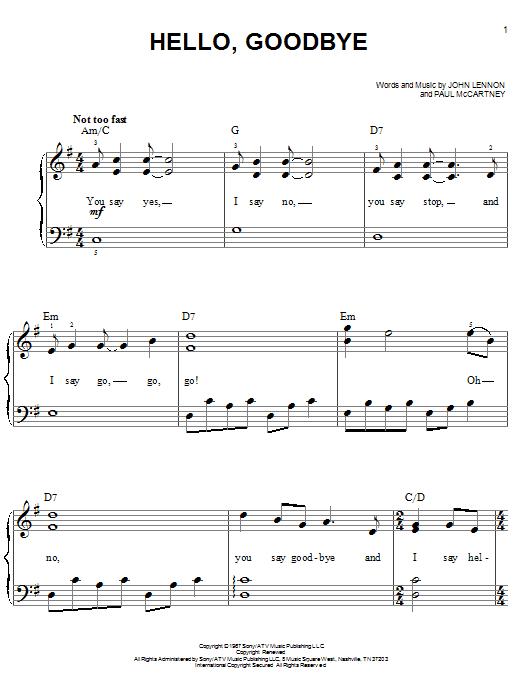 Partition piano Hello, Goodbye de The Beatles - Piano Facile