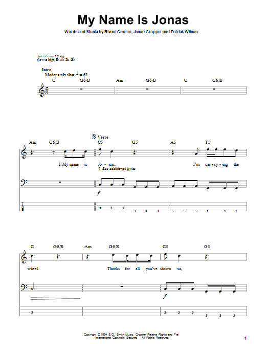 My Name Is Jonas sheet music for bass (tablature) (bass guitar) by Rivers Cuomo