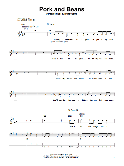 Pork And Beans sheet music for bass (tablature) (bass guitar) by Rivers Cuomo