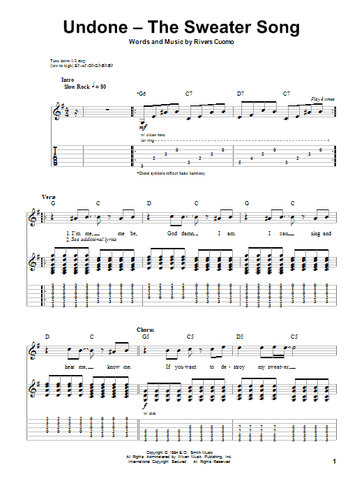 Undone - The Sweater Song sheet music for guitar solo (tablature, play-along) by Rivers Cuomo