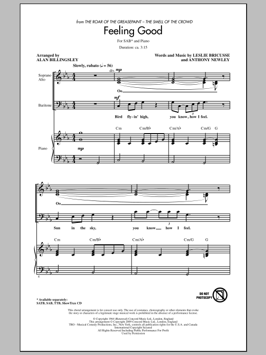 Feeling Good sheet music for choir and piano (SAB) by Anthony Newley