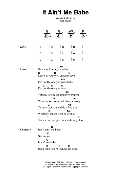 It Ain't Me Babe sheet music for guitar solo (chords, lyrics, melody) by Bob Dylan