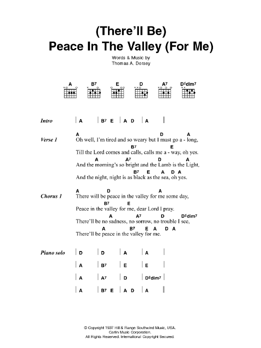 (There'll Be) Peace In The Valley (For Me) sheet music for guitar solo (chords, lyrics, melody) by Tommy Dorsey