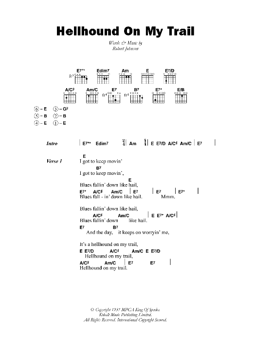 Hellhound On My Trail sheet music for guitar solo (chords, lyrics, melody) by Robert Johnson